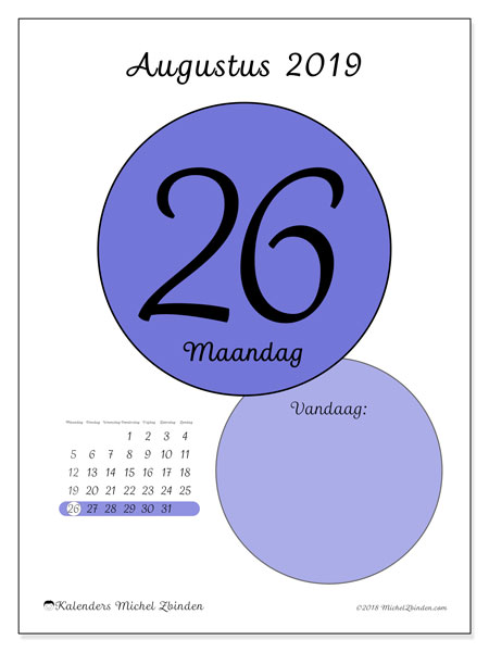 Kalender augustus 2019, 45-26MZ. Dagelijkse kalender om gratis te printen.