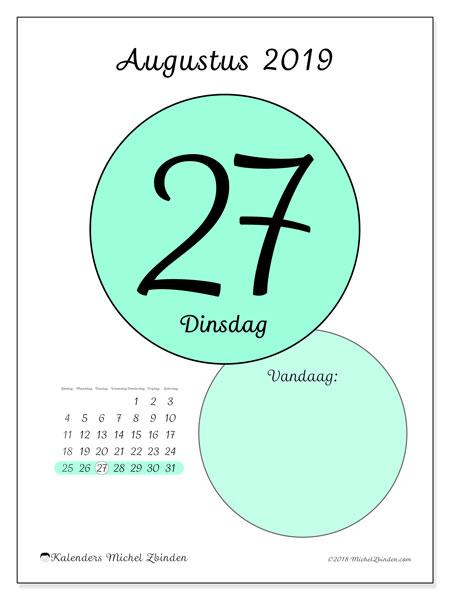 Kalender augustus 2019, 45-27ZZ. Kalender voor de dag om gratis te printen.