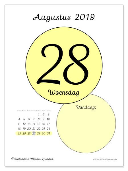 Kalender augustus 2019, 45-28ZZ. Dagelijkse kalender om gratis te printen.