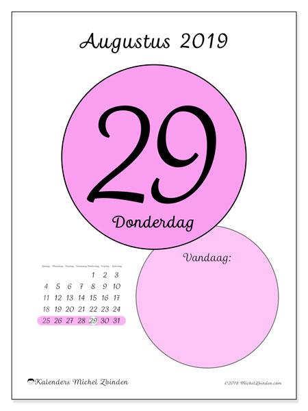 Kalender augustus 2019, 45-29ZZ. Dagelijkse kalender om gratis te printen.