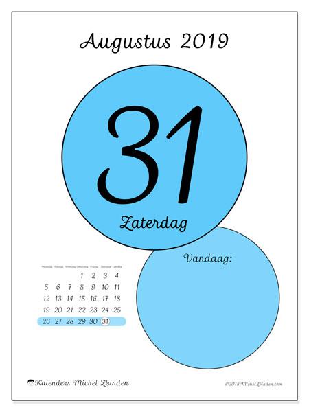 Kalender augustus 2019, 45-31MZ. Dagelijkse kalender om gratis te printen.