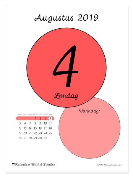 Kalender augustus 2019, 45-4MZ. Dagelijkse kalender om gratis te printen.