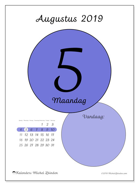Kalender augustus 2019, 45-5ZZ. Dagelijkse kalender om gratis te printen.
