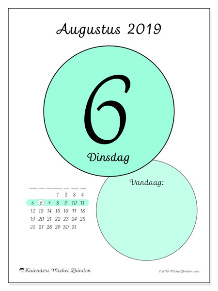 Kalender augustus 2019, 45-6MZ. Dagelijkse kalender om gratis te printen.