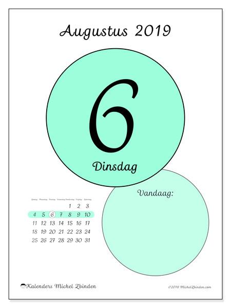 Kalender augustus 2019, 45-6ZZ. Kalender voor de dag om gratis te printen.