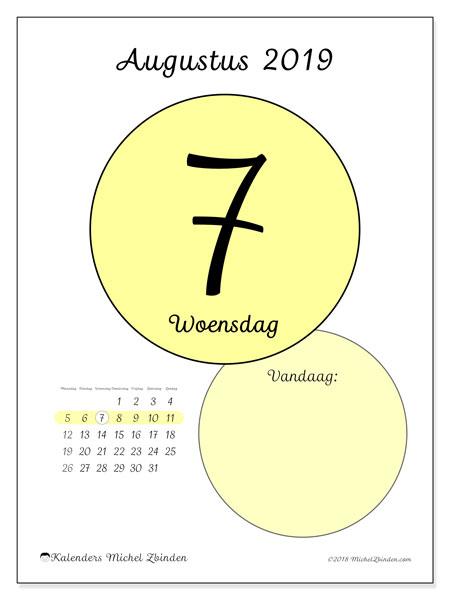 Kalender augustus 2019, 45-7MZ. Dagelijkse kalender om gratis te printen.