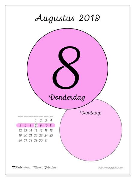 Kalender augustus 2019, 45-8MZ. Dagelijkse kalender om gratis te printen.