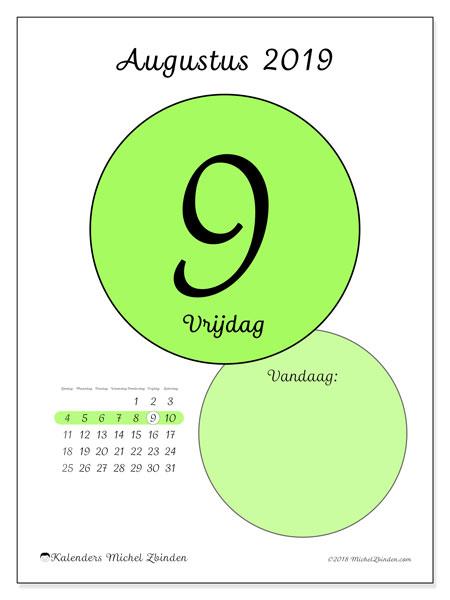 Kalender augustus 2019, 45-9ZZ. Kalender voor de dag om gratis te printen.