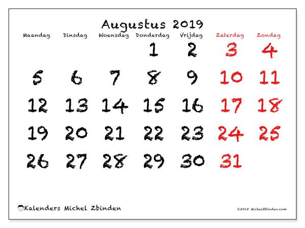 Kalender augustus 2019, 46MZ. Gratis kalender om af te drukken.