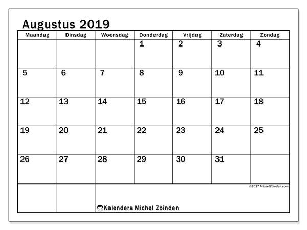 Kalender augustus 2019, 50MZ. Kalender om gratis te printen.
