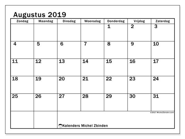 Kalender augustus 2019, 50ZZ. Schema om gratis te printen.