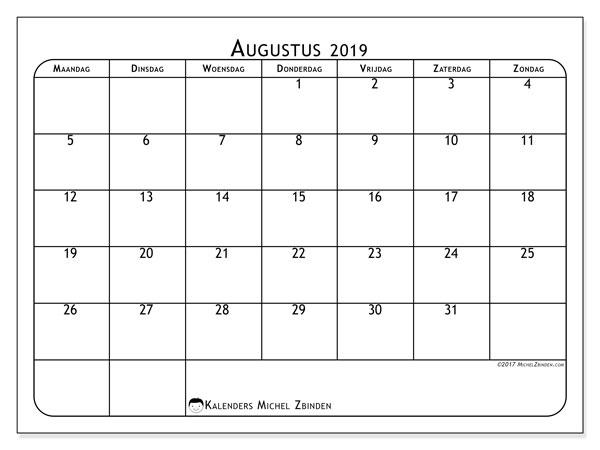 Kalender augustus 2019, 51MZ. Gratis printbare kalender.