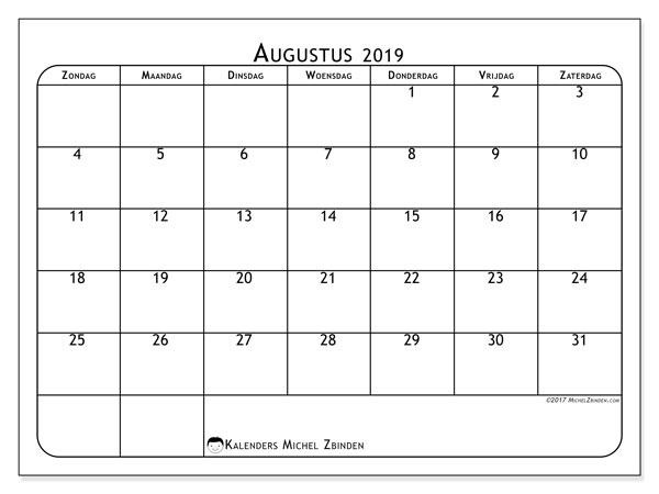 Kalender augustus 2019, 51ZZ. Schema om gratis te printen.