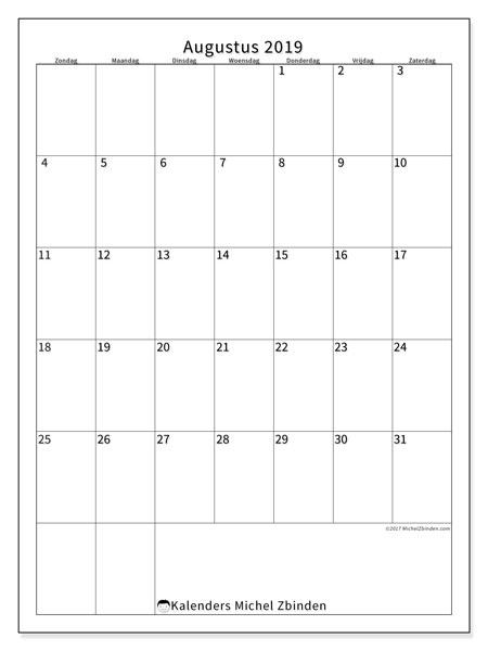 Kalender augustus 2019, 52ZZ. Kalender om gratis te printen.