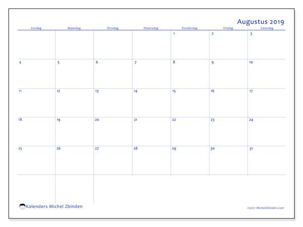 Kalender augustus 2019, 55ZZ. Schema om gratis te printen.
