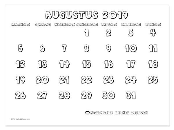Kalender augustus 2019, 56MZ. Kalender om gratis af te drukken.