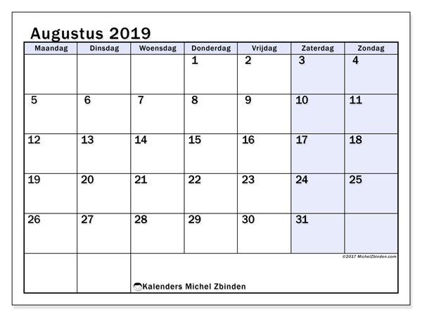 Kalender augustus 2019, 57MZ. Kalender voor de maand die gratis moet worden afgedrukt.