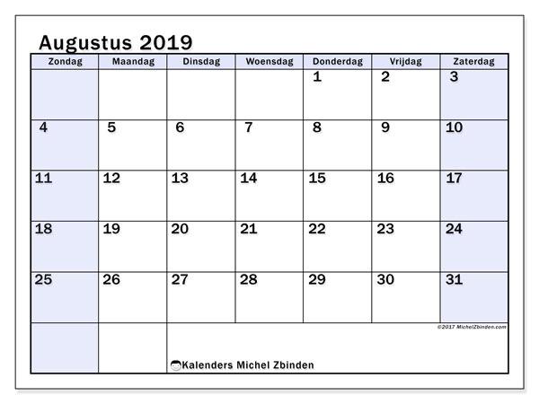 Kalender augustus 2019, 57ZZ. Gratis kalender om af te drukken.