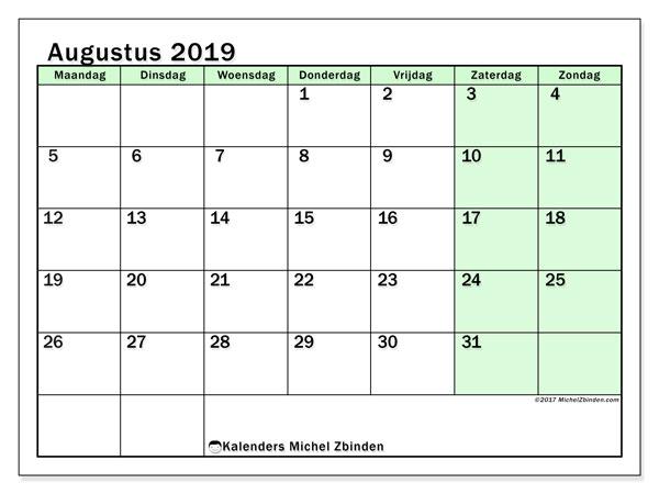 Kalender augustus 2019, 60MZ. Kalender om gratis te printen.