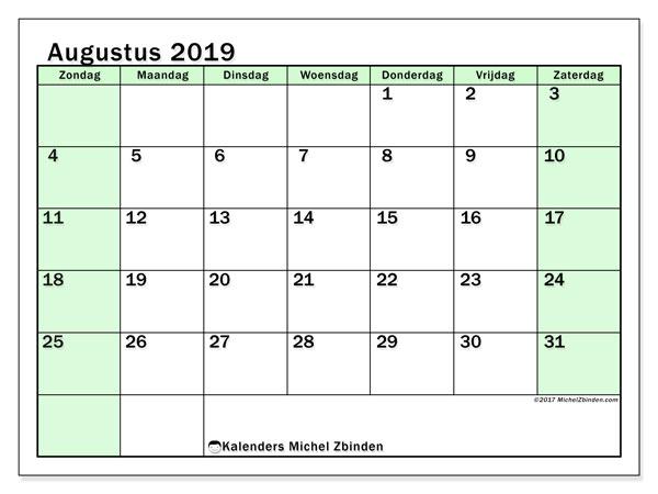 Kalender augustus 2019, 60ZZ. Gratis printbare kalender.