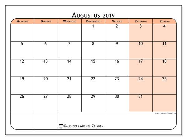 Kalender augustus 2019, 61MZ. Maandkalender om gratis te printen.