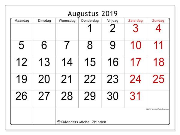 Kalender augustus 2019, 62MZ. Gratis kalender om af te drukken.