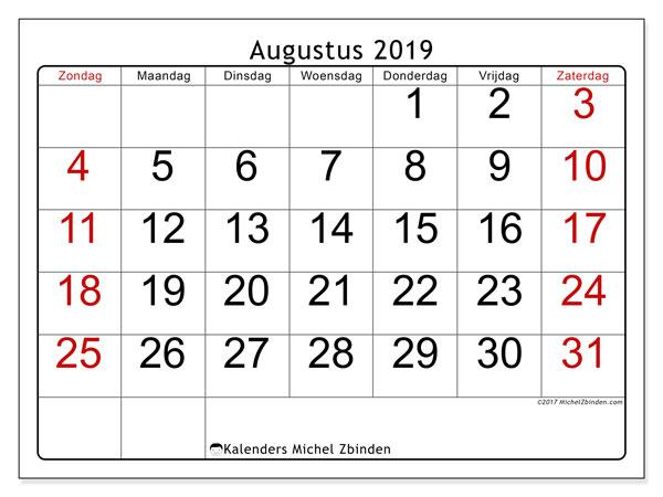 Kalender augustus 2019, 62ZZ. Kalender voor de maand die gratis moet worden afgedrukt.