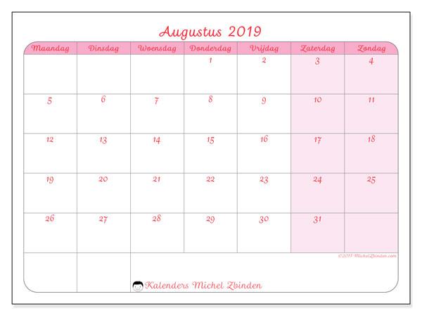 Kalender augustus 2019, 63MZ. Maandkalender om gratis te printen.