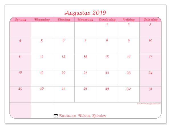 Kalender augustus 2019, 63ZZ. Maandkalender om gratis te printen.