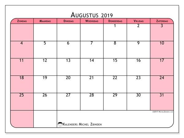 Kalender augustus 2019, 64ZZ. Gratis printbare kalender.