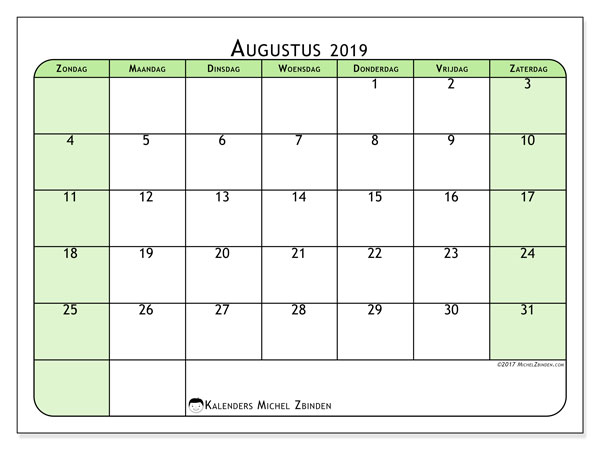 Kalender augustus 2019, 65ZZ. Maandkalender om gratis te printen.