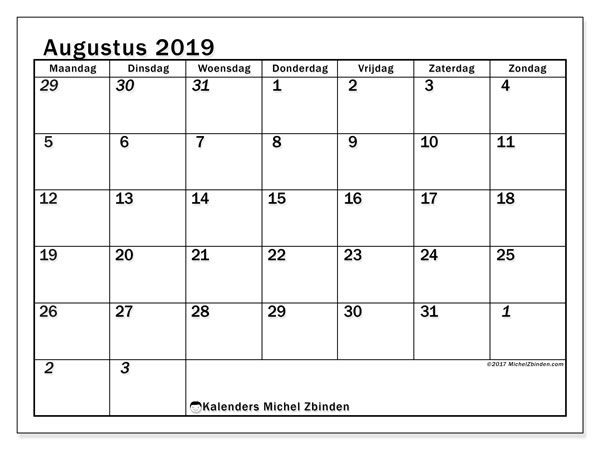 Kalender augustus 2019, 66MZ. Kalender voor de maand die gratis moet worden afgedrukt.