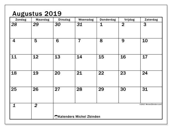 Kalender augustus 2019, 66ZZ. Kalender om gratis te printen.