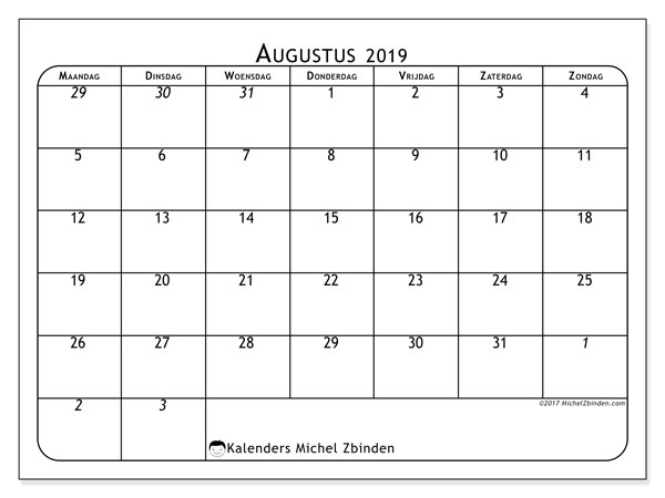 Kalender augustus 2019, 67MZ. Kalender voor de maand die gratis moet worden afgedrukt.