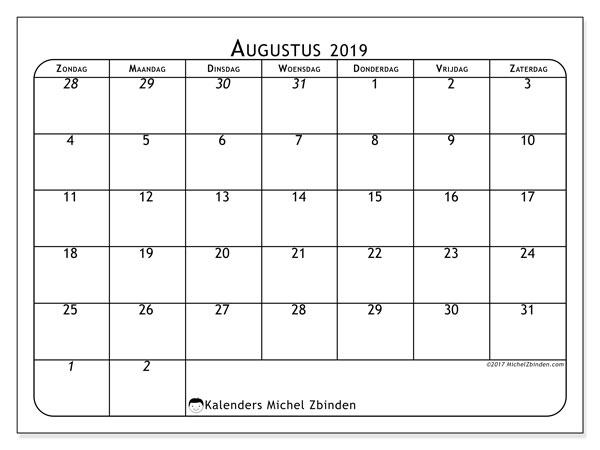 Kalender augustus 2019, 67ZZ. Gratis afdrukbare kalender.