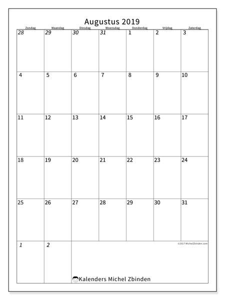 Kalender augustus 2019, 68ZZ. Kalender om gratis te printen.
