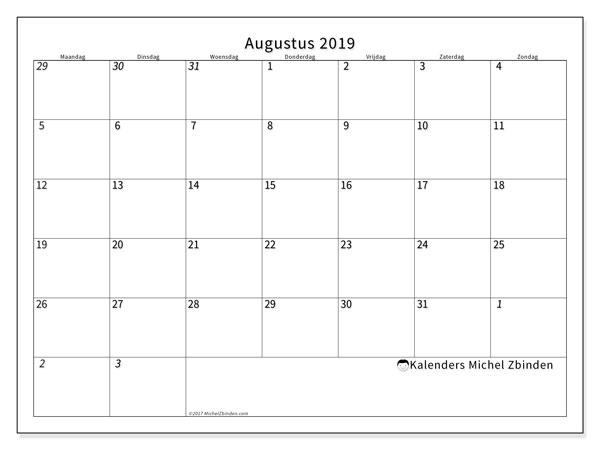 Kalender augustus 2019, 70MZ. Maandkalender om gratis te printen.