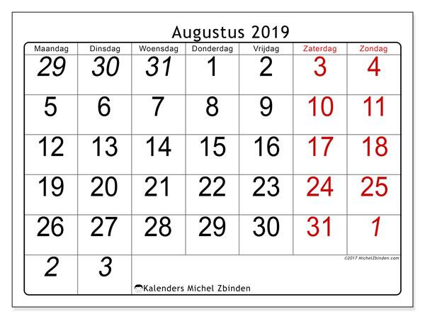 Kalender augustus 2019, 72MZ. Kalender om gratis af te drukken.