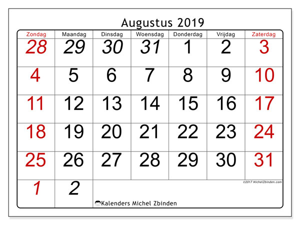 Kalender augustus 2019, 72ZZ. Gratis afdrukbare kalender.