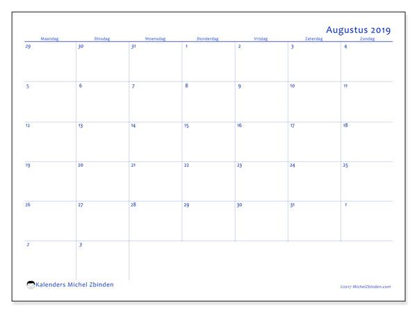Kalender augustus 2019, 73MZ. Kalender om gratis af te drukken.