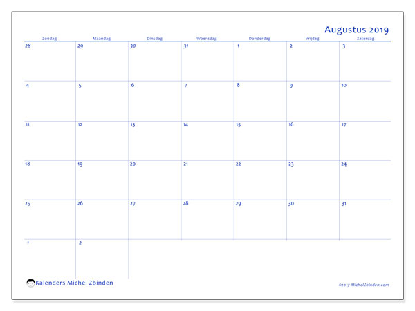 Kalender augustus 2019, 73ZZ. Kalender voor de maand die gratis moet worden afgedrukt.