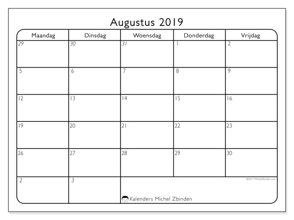 Kalender augustus 2019, 74MV. Schema om gratis te printen.