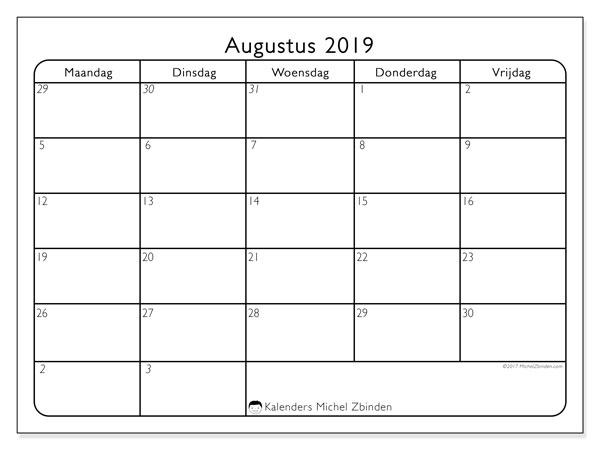 Kalender augustus 2019, 74ZZ. Gratis printbare kalender.