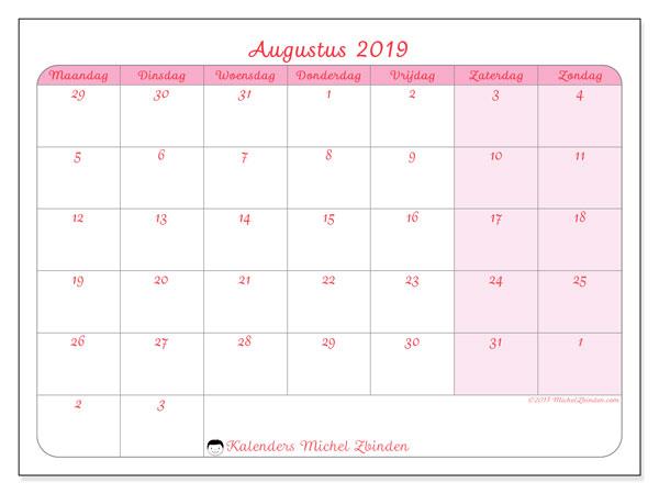 Kalender augustus 2019, 76MZ. Gratis printbare kalender.