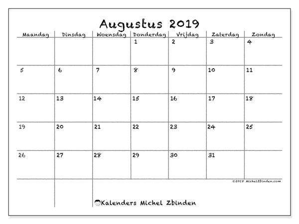 Kalender augustus 2019, 77MZ. Kalender voor de maand die gratis moet worden afgedrukt.