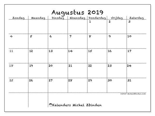 Kalender augustus 2019 (77ZZ). Maandkalender om gratis te printen.
