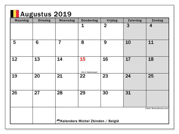 Kalender augustus 2019 - België. Kalender om af te drukken: feestdagen.