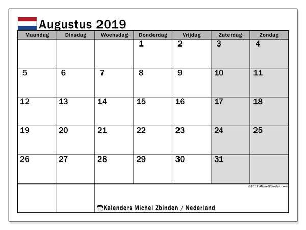 Kalender augustus 2019, met feestdagen in Nederland. Kalender feestdagen om gratis te printen.