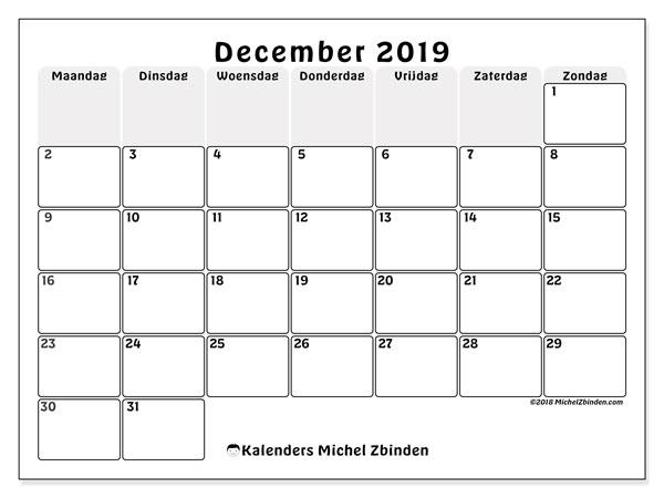 Kalender december 2019, 44MZ. Schema om gratis te printen.