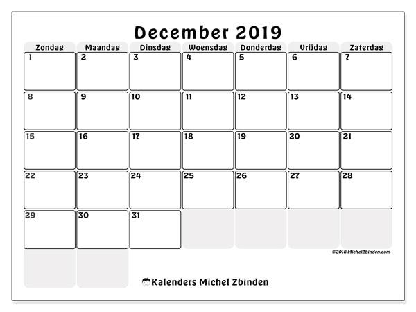 Kalender december 2019, 44ZZ. Kalender voor de maand die gratis moet worden afgedrukt.